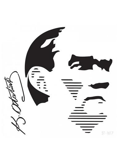 Artikel Atatürk -2 Stencil Tasarımı 30 x 30 cm , Boyama Şablonu Renkli